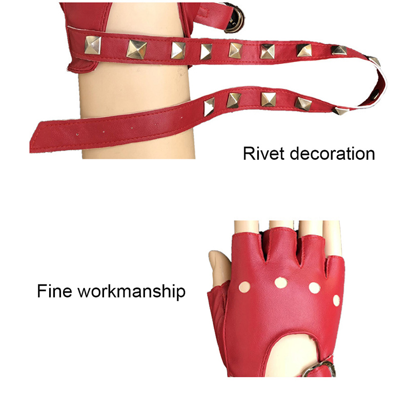 1 Pair Half Finger PU Leather Gloves Rock Punk Style Rivet Fingerless Motorcycle Gloves PR Sale