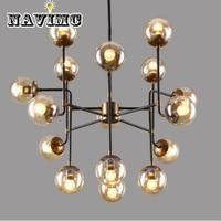 Nordic Retro Iron Art Creative Glass Ball Chandelier Living Room Restaurant LED Lamp