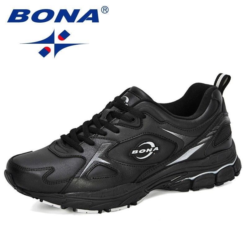 BONA 2020 nuevos diseñadores de zapatos de cuero de acción para hombres, zapatos casuales de moda para hombre, zapatos vulcanizadores, Tenis Masculino, calzado de ocio Botines blancos de cuero partido suave para mujer, botas de moto para mujer, zapatos de Otoño Invierno para mujer, botas Punk para moto, primavera 2020
