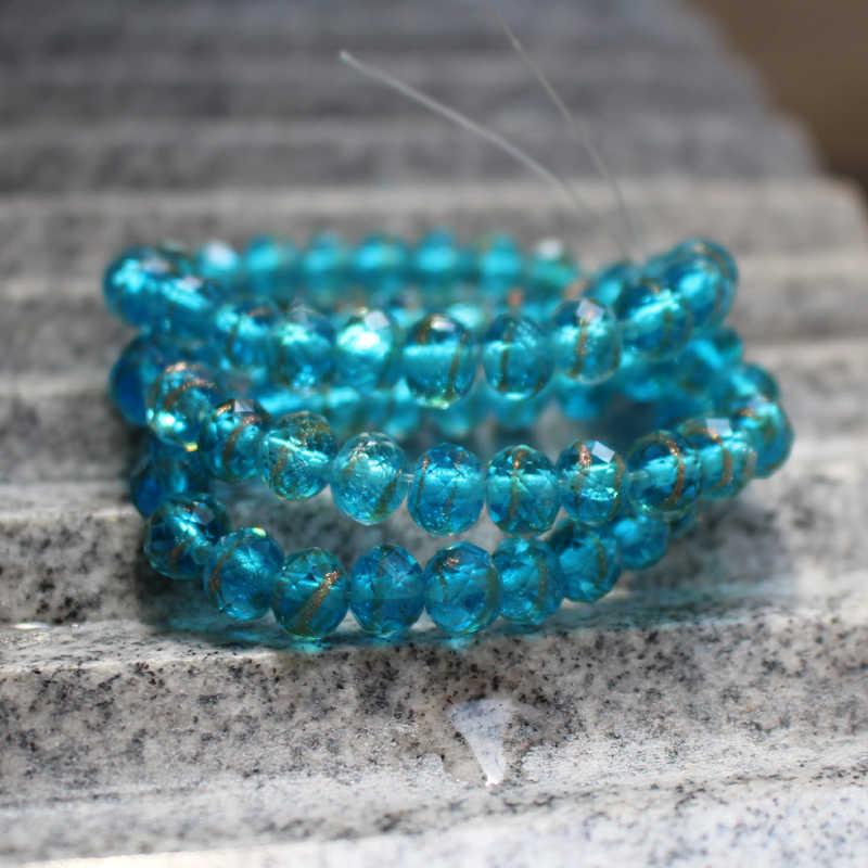 88 con goma cuentas de vidrio azul polvo ligeramente joyas 6mm 8mm 10mm perlenset r358
