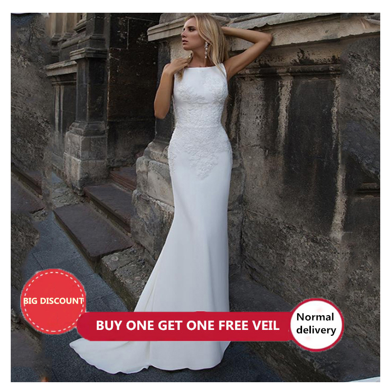 LORIE Mermaid Wedding Dresses 2020 Soft Satin Appliques Lace Beach Bride Dress Sexy Back Wedding Gown Hot Sale