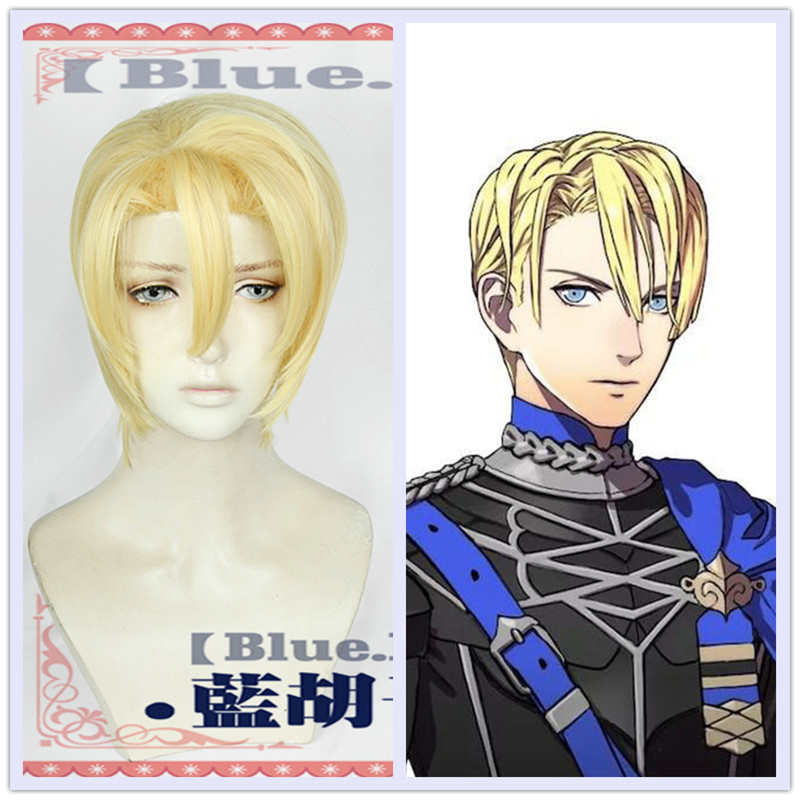 New Fire Emblem ThreeHouses Wig Cosplay Dimitri Alexandre Bladud Short Blonde Golden Straight Cosplay Hair Halloween Role Play image