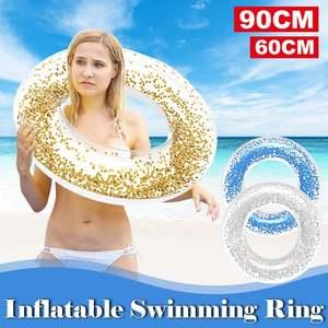 Anillo inflable transparente con lentejuelas brillantes para natación, Flotador para piscina, juguetes de fiesta, Círculo de natación, 60/90CM