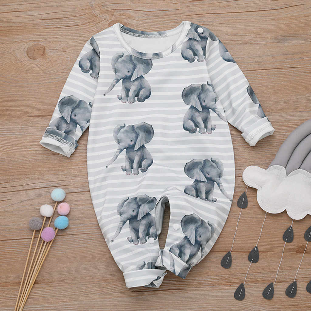 Baby Boy Girl lovely Elephant Romper Newborn Cartoon animal long sleeve cotton Jumpsuit autumn Outfits Clothes for baby kids
