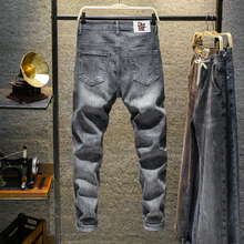 Man Cotton casual jeans men young students cowboy ankle length pants hombre casual trousers Jeans in Regular Fit Ankle-length distressing ankle jeans
