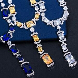 Image 4 - CWWZircons luksusowe długi dynda spadek ciemny niebieska cyrkonia sześcienna kobiet Party kolczyki naszyjnik biżuteria ślubna dla nowożeńców zestawy T356