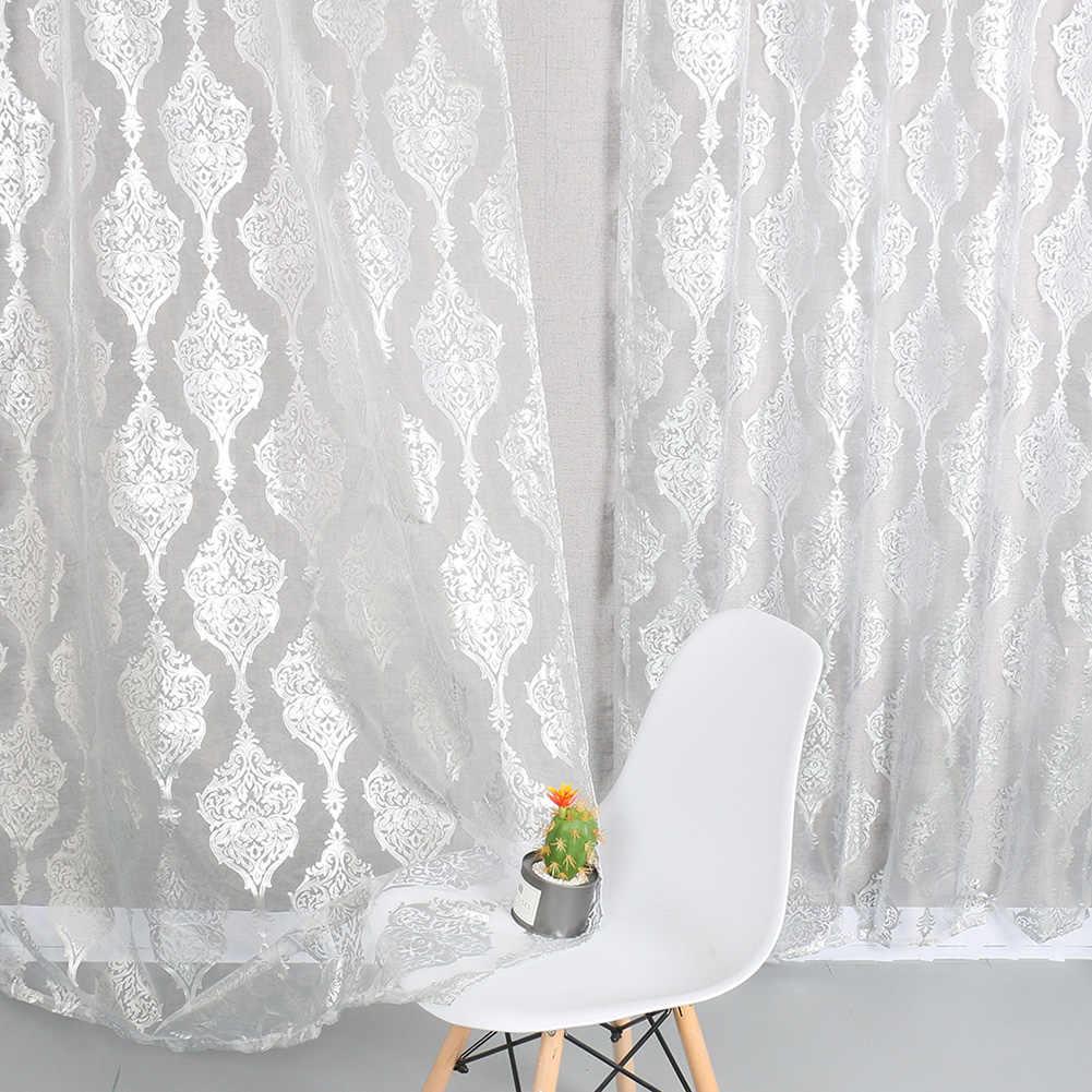 ecran de fenetre en tissu transparent blanc pur rideau en tulle a rayures metalliques argentees pour salon et chambre a coucher