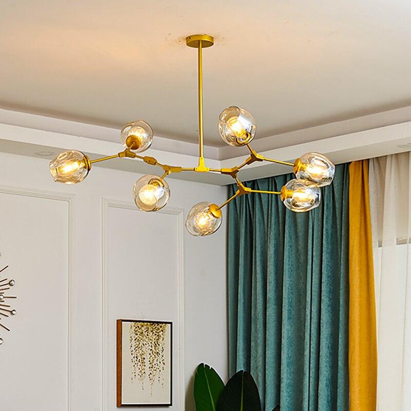 Lámpara led moderna, lámpara de metal Molecular, colgante para decoración de techo, lámpara de bola de cristal para sala de estar, dormitorio, Araña de iluminación interior