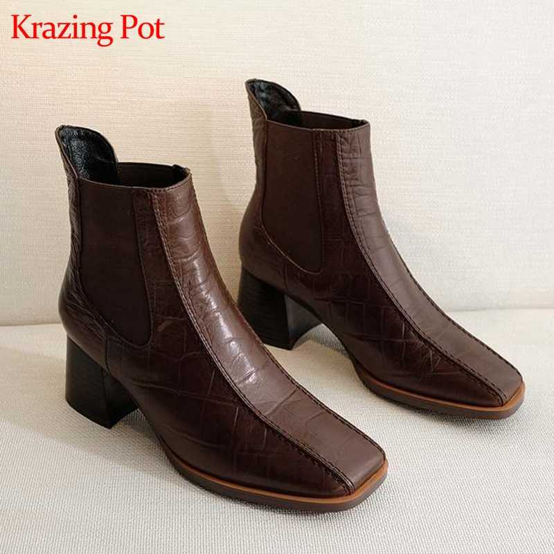 Krazing pot cow leather prints leather square toe high heel handsome plus size elegant vintage design keep warm ankle boots L9f2