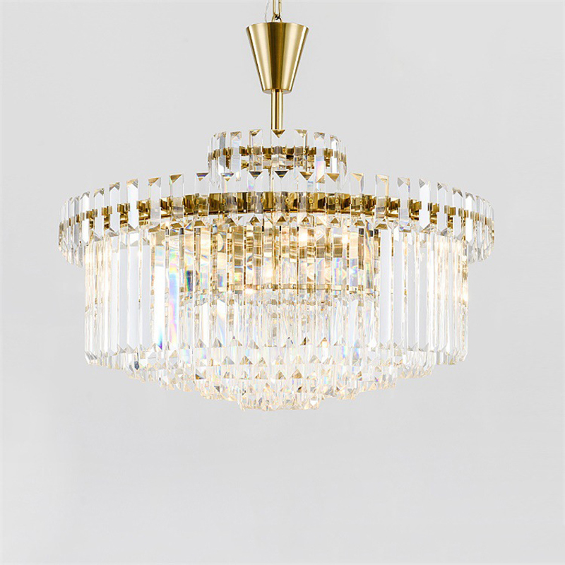 Luxury Round LED Tube Crystal Chandelier for Hotel Lobby Meeting Room Lighting