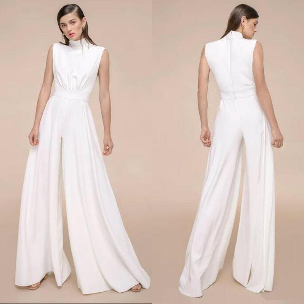 Women Pantsuits Satin Jumpsuits Prom Dresses Floor Length Formal Evening Gowns High Neck Arabic Robe De Soiree
