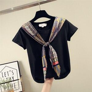 Шелковые шарфы, сшитые на шнуровке, хлопковая футболка с коротким рукавом, женская футболка, весна-лето 2020, новые свободные футболки, женски...