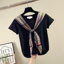 Silk Scarves Stitching Lace-up Cotton Short Sleeve T-shirt Tshirt Women 2020 Spr