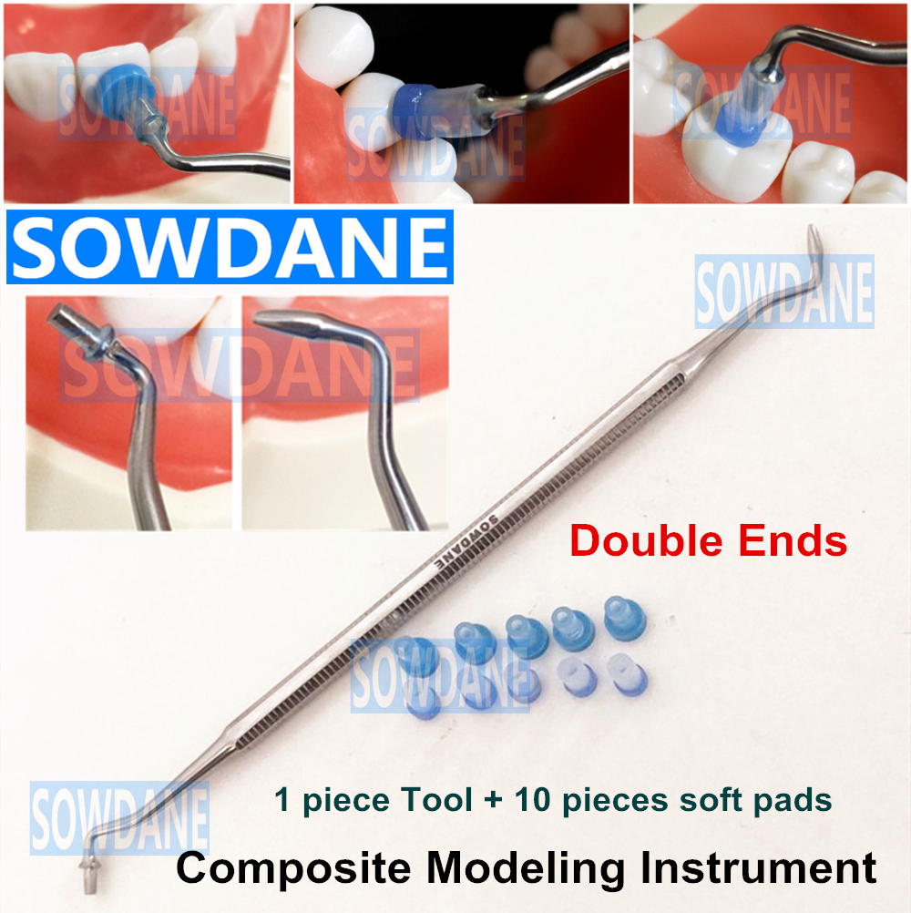 Dental Resin Composite Trimmer Spatula Dental Contact Shape Former With Caps Composite Modelling Instrument Filling Filler