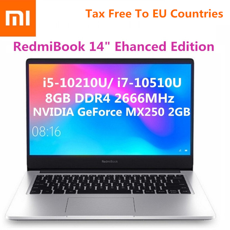 Xiaomi RedmiBook 14 Inch Notebook Windows 10 OS Intel Core I5-10210U/ I7-10510U 8GB RAM 512GB SSD Sliver Laptop Enhanced Edition