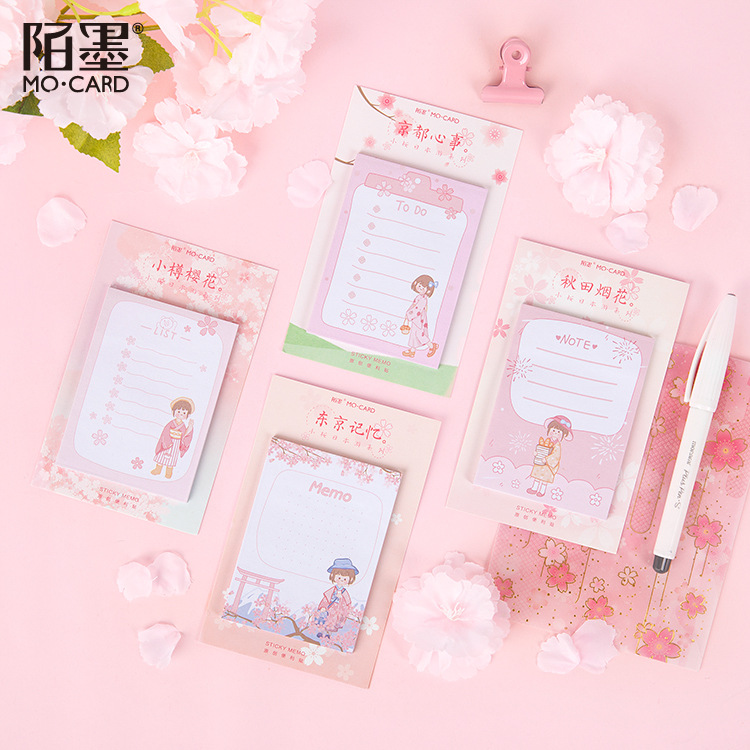 30 Pages/set Kawaii Tokyo Sakura Girl Decoration Memo Sheets Pad Sticky Notes Planner Stickers To Do List School Office Decor
