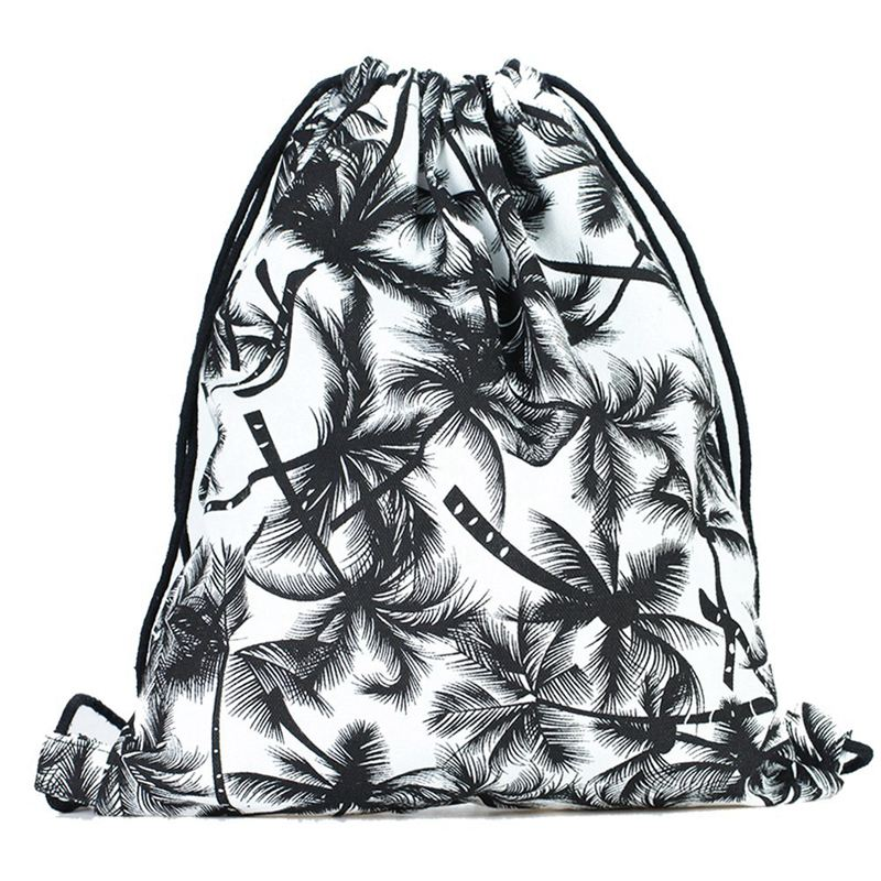 Print Drawstring Backpack Rucksack Shoulder Bags Gym Bag