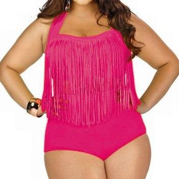 HOT Sale Plus Size Split Swimsuit Women Sexy Retro Padded Push Up Tassel High Waist Swimsuit Female biqiuni Bathing Suit 12