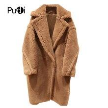 PUDI, новинка, женская мода, натуральный овечий мех, пальто для девочек, для отдыха, однотонная плюшевая куртка, пальто ct817
