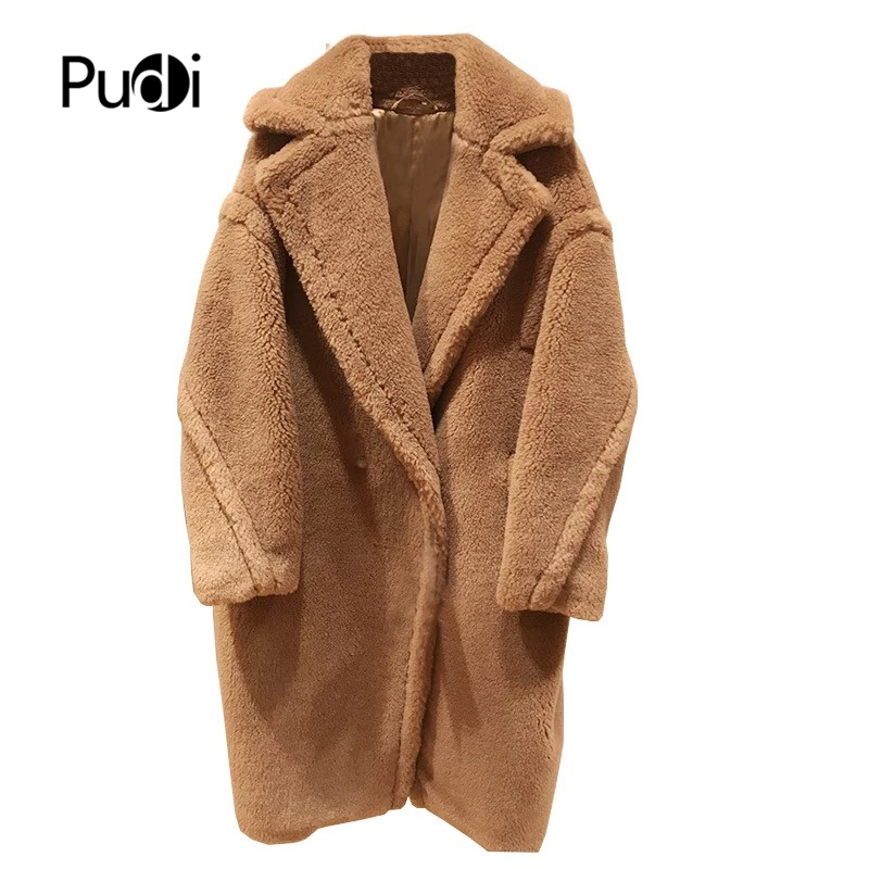 PUDI 2020 New Women Fashion Real Sheep Fur Over Coat Girl Leisure Solid Teddy Color Jacket Overcoats Ct817