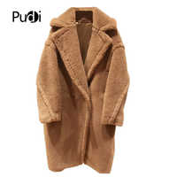 PUDI CT817 2019 new women fashion real sheep fur over coat girl leisure solid jacket coat