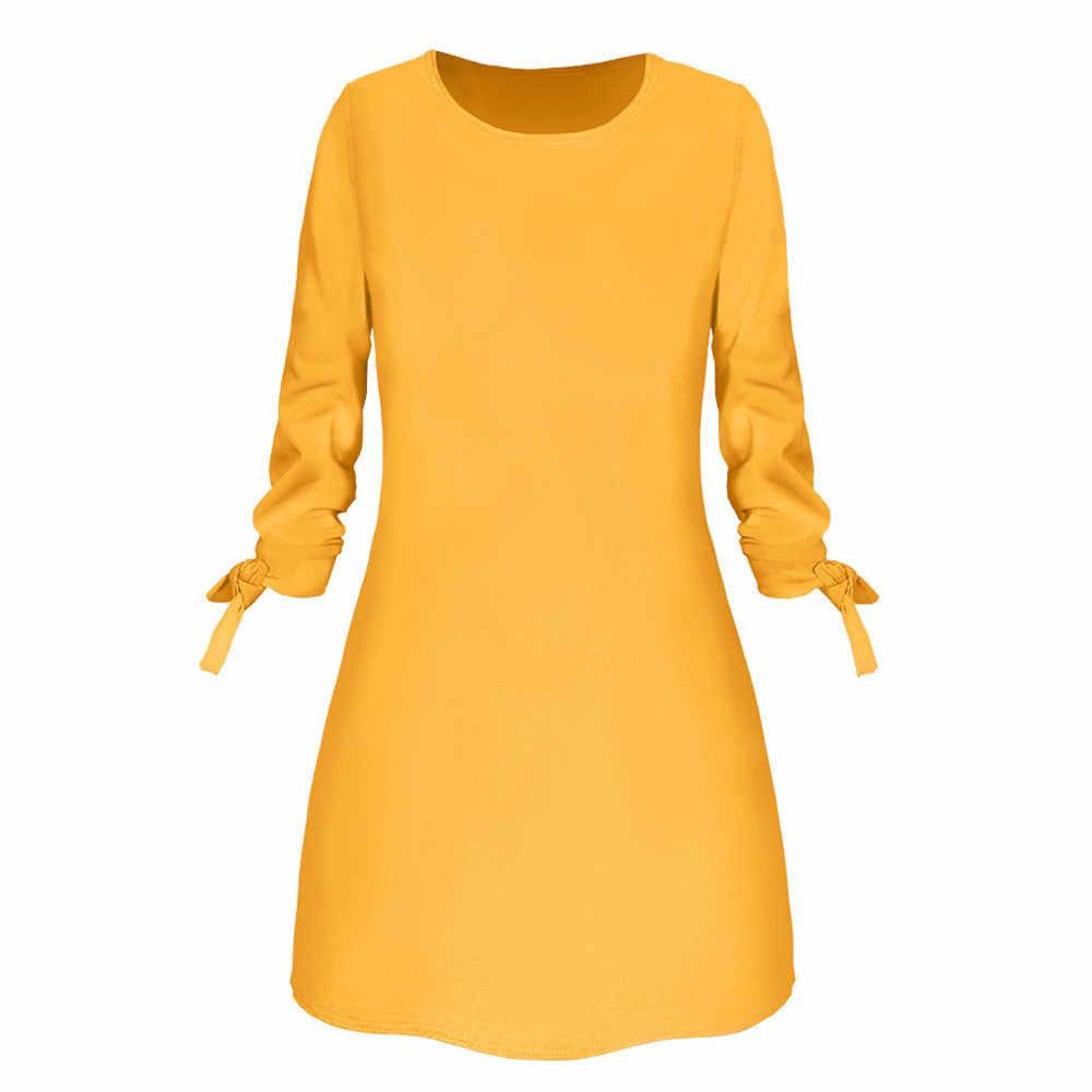 Новинка весны 2019, модное однотонное платье, повседневное свободное платье с круглым вырезом, рукав 3/4, бант, элегантное пляжное женское платье размера плюс