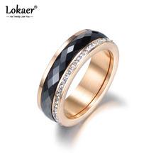 Lokaer Classic Titanium Steel Black Ceramics Rings Jewelry Gold Color Cubic Zirconia Wedding Engagement Rings For Women R18013