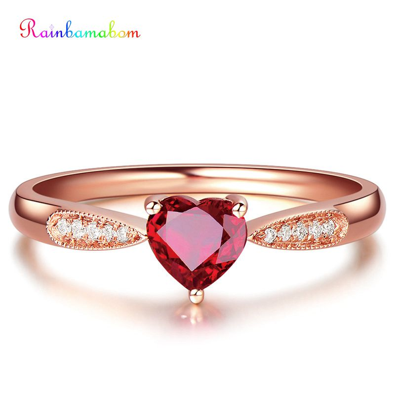 Rainbamabom 925 Solid Sterling Silver Heart Ruby Gemstone Wedding Engagement Cocktail Rose Gold Ring Fine Jewelry Gift Wholesale