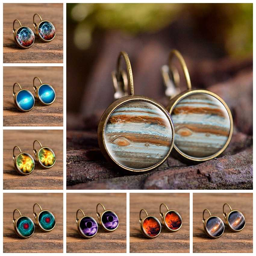 2019 Baru Fashion Perhiasan Mengkilap Anting-Anting Anting-Anting Kaca Cabochon Jupiter Planet Art Photo Bulat Anting-Anting Wanita Hadiah Kreatif