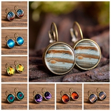 2019 New Fashion Jewelry Galaxy Space Stud Earrings Glass Cabochon Jupiter Planet Art Photo Round Earrings Women Creative Gifts