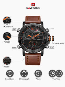 NAVIFORCE Digital Clock Wrist-Watch Quartz Military Sports Waterproof Men Luxury Brand
