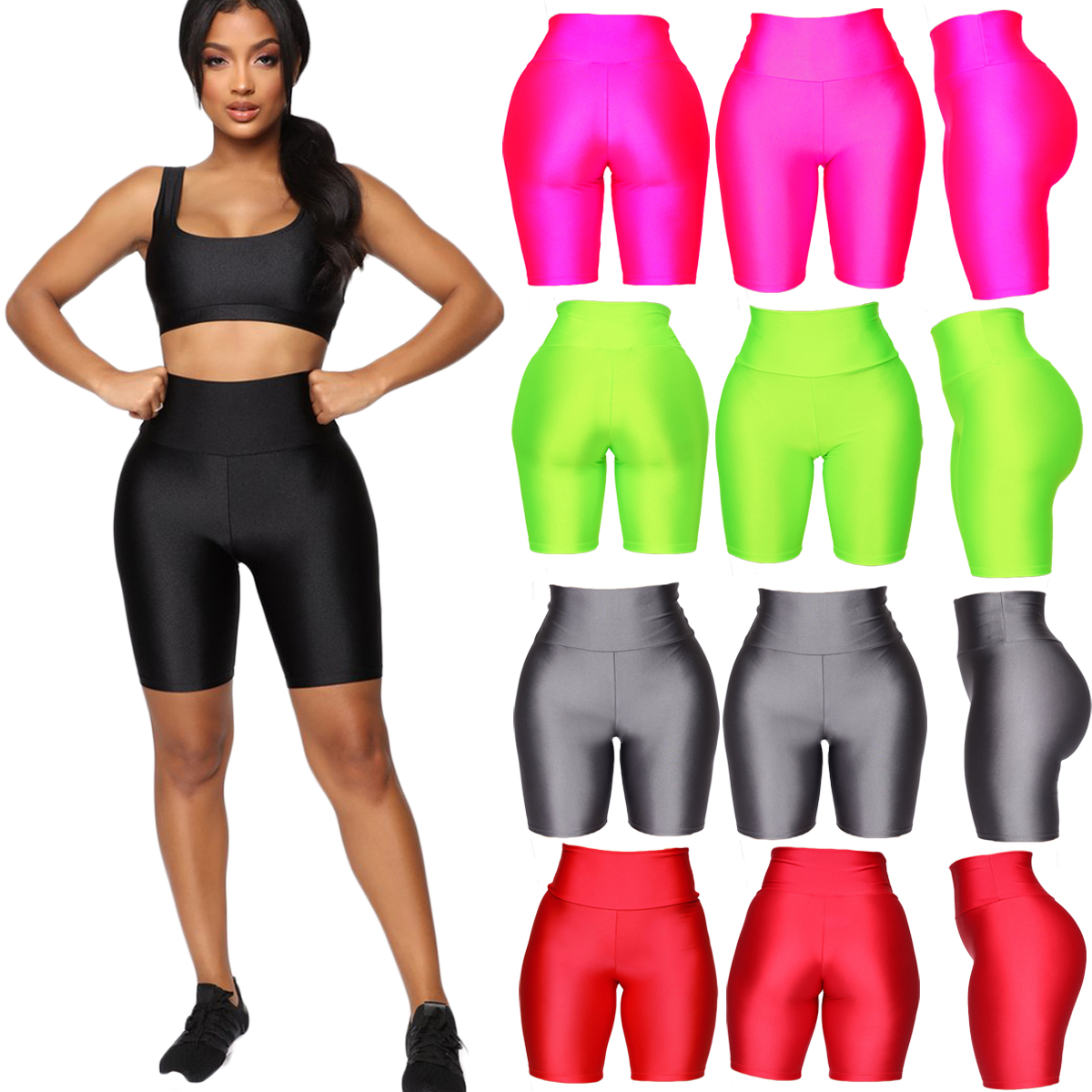 He919923fb826415f9e7ffac4957921e3G - Womens Plain Sports Gym Cycling Skinny Fit High Waist Shorts Lady Summer Casual Solid Basic Stretchy Bodycon Short Pants