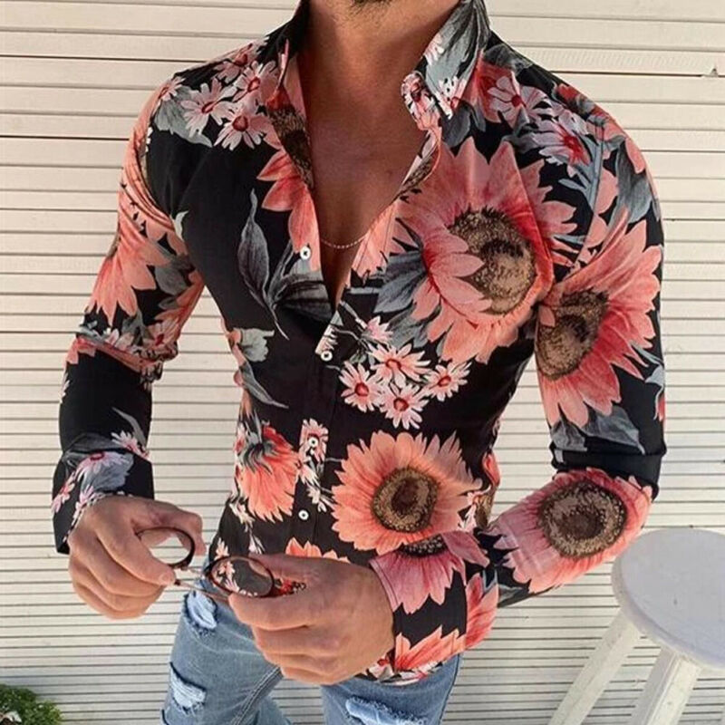 New Men's Fashion Floral Printed Shirts Casual Button Down Long Sleeve Hawaiian Shirt Beach Vacation Slim Fit Party Shirts Tops