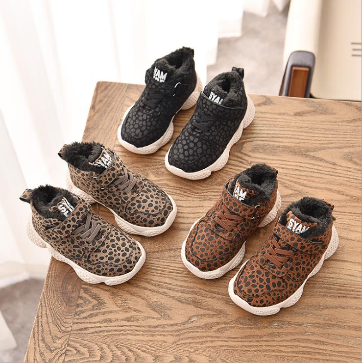 Winter Children's Sports Shoes Girls Leopard Shoes Thicker Cotton Casual Shoes 26-35 3colors TX07