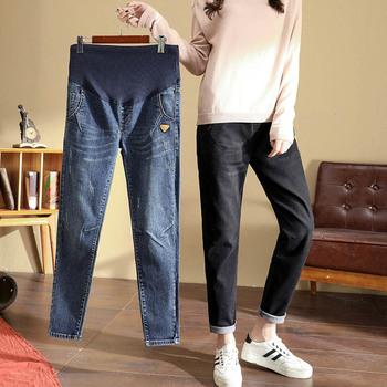 L-5XL wiosna jesień 2020 jeansy ciążowe dla kobiet w ciąży bawełna Denim Plus rozmiar spodnie ciążowe ubrania w ciąży czarne spodnie tanie i dobre opinie GB-Kcool Elastyczny pas Natural color light Distrressed WHITE Kolorowe Enzym prania skinny COTTON L XL XXL 3XL 4XL 5XL Black Blue