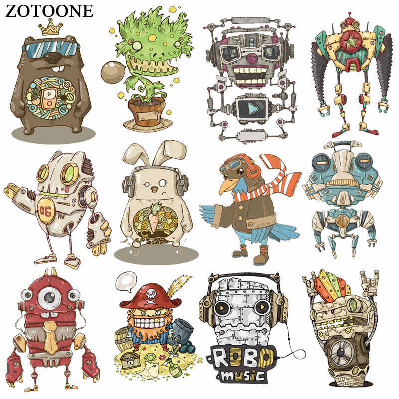 ZOTOONE Cool Robot Monster Patch Ijzer op Transfers voor Kleding Toepassingen DIY T-shirt Warmte Transfers Appliques Stickers E