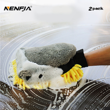 2pcs Car Care Washer Microfiber Wash Mitt Waterproof Glove Chenille Polish Glove Auto Car Cleaning Detail Wax Brush Accessory