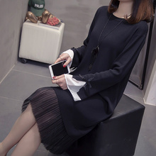 long sleeve black dress round neck knitted sweater dress Chiffon splicing oversized sweater fall loose elegant dress plus size black round neck plush knitted details sweater