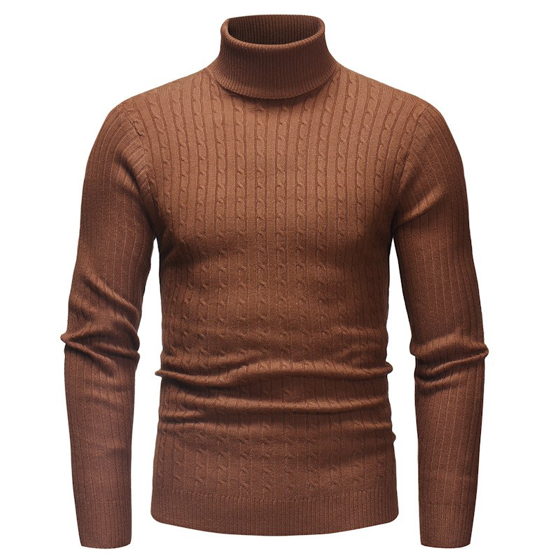 Autumn Winter Men Casual Bottoming Sweater High Collar Long-sleeved Solid Color Slim Warm Sweater