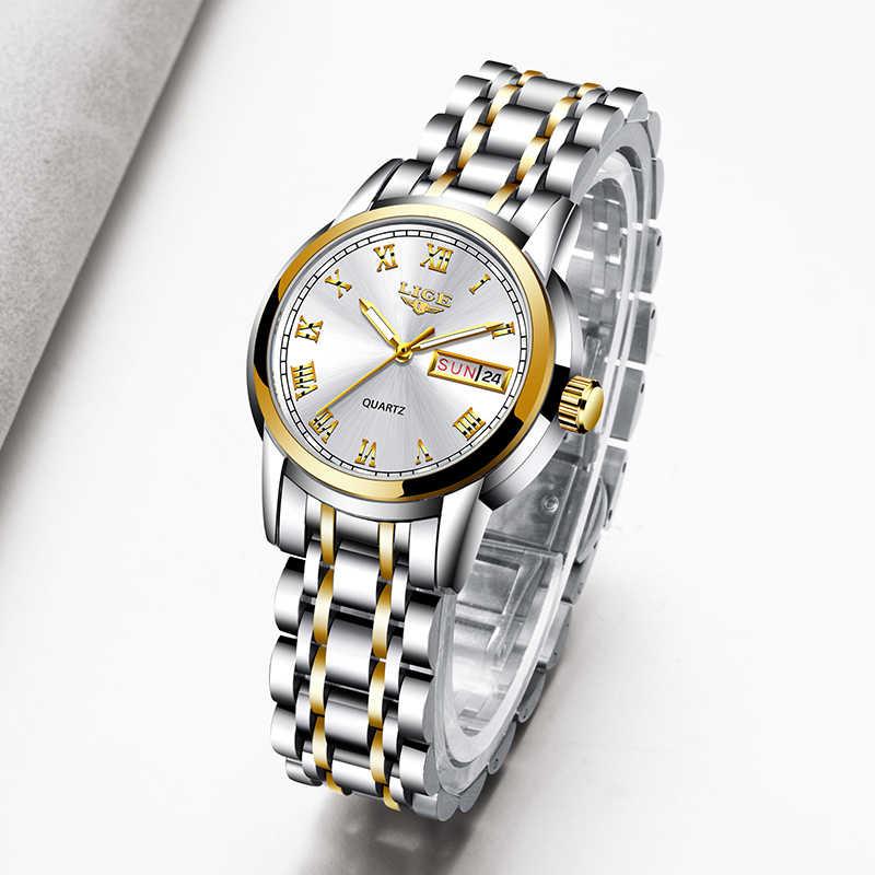 ליגע 2020 חדש זהב שעון נשים שעונים גבירותיי Creative פלדת נשים של צמיד שעונים נקבה עמיד למים שעון Relogio Feminino