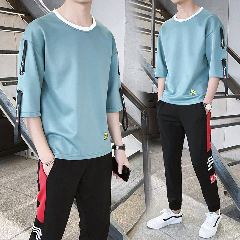MEN'S Suit Spring And Summer Autumn Three-quarter Sleeve T-shirt Korean-style Trend A Set Of Hoodie Popular Brand Collocation Ha