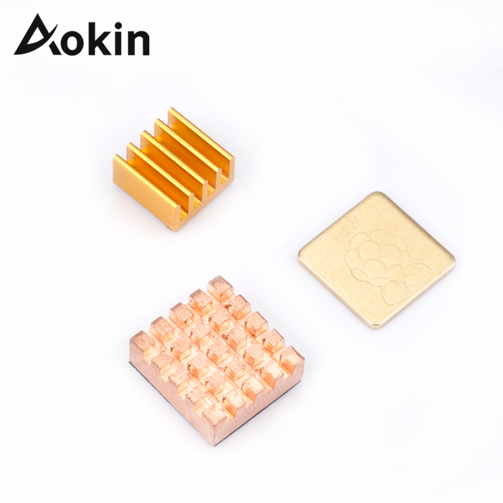 For Raspberry Pi 3 Model B Heatsink Cooling With 2 Pieces Pure Copper + 1 Piece Aluminum Heat Sink