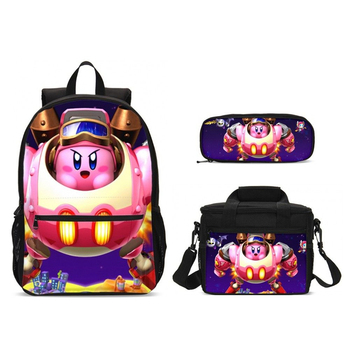 New Cartoon Kirby Print School Backpack For Teen Girls Large School Bags Kid Schoolbag Laptop Backpack Children Mochila Food Box
