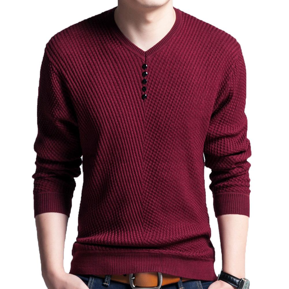 Chic Men Pullovers Solid Color V Neck Long Sleeve Pullover Slim- Fit Knitted Sweater Blouse 3