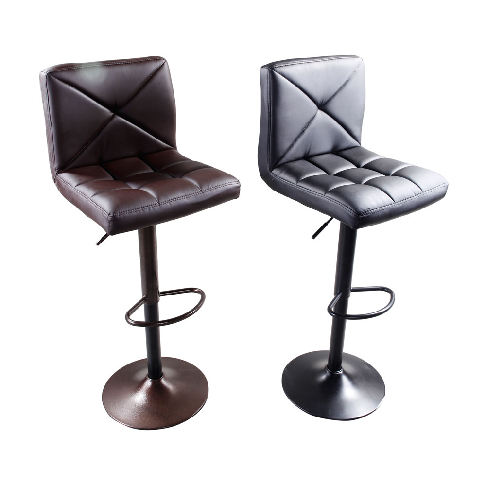 US Adjustable Height Metal Bar Stool 2pcs Faux Leather Swivel Gas Lift Bar Chair Crossover Design With Footrest Dropshipping