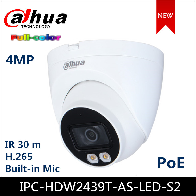 Dahua 4MP Lite Full Color IP Camera IPC-HDW2439T-AS-LED-S2 Fixed-focal Eyeball Network Camera Replace IPC-HDW2431T-AS-S2