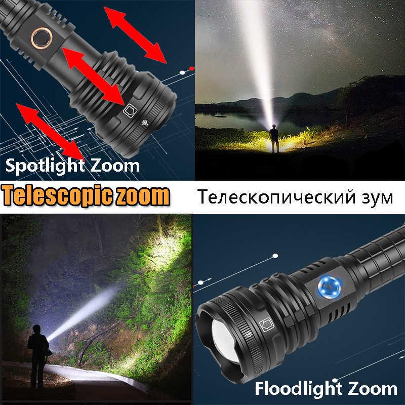 סופר XHP90 LED פנס טקטי עמיד למים לפיד 5 מצבי תאורה זום מובנה מנורת להשתמש 26650 סוללה נייד