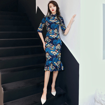 цена на 2020 Fashion Girls Chinese Dress Women Summer Cheongsam Qipao Dresses Evening Gowns China Oriental Style Vintage Qi Pao Long