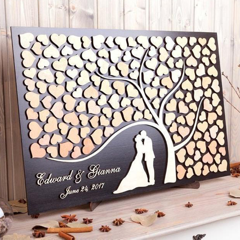 Personalized 3D Guest BookAlternative Wood Heart Wedding GuestbookTree of Life Silhouette Rustic Wedding DecorRustic Wedding