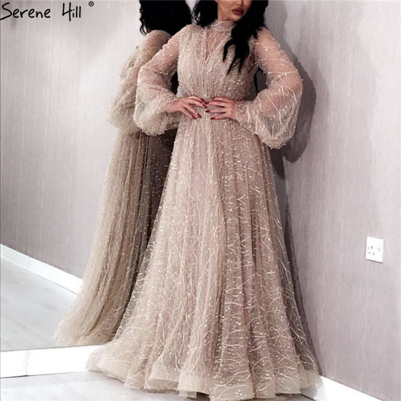 Champange Pearls A-Line Evening Dresses 2019 Dubai Long Sleeves Sexy Tulle Evening Gowns Serene Hill Plus Size LA60835